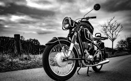 Motorcycle in black and white.
