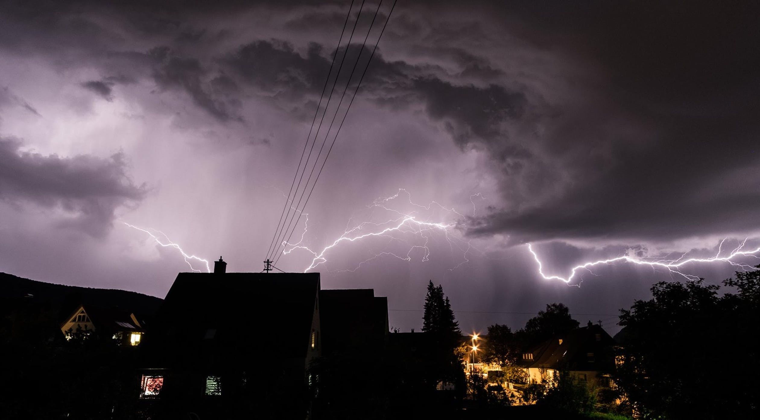 Lightning in a neighborhood.