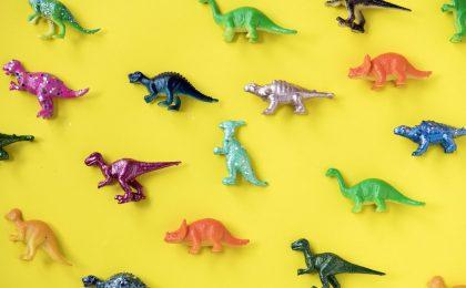 Plastic dinosaurs.