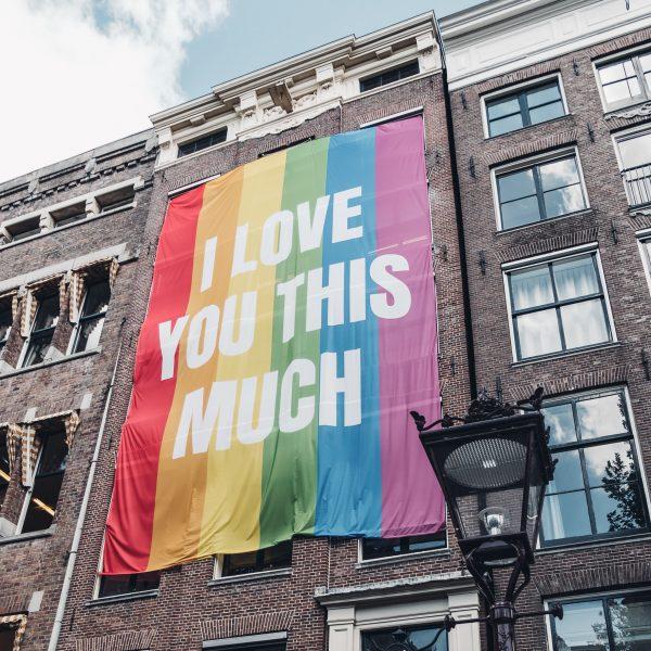 Rainbow flag on house.