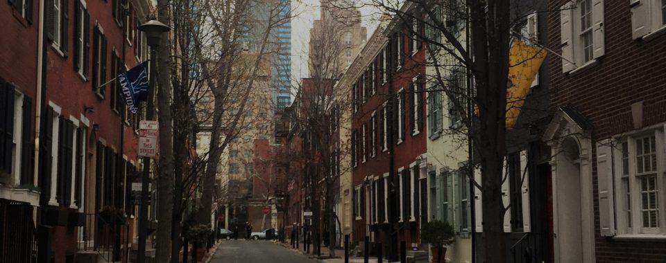 Rowhouse street in Philadelphia.