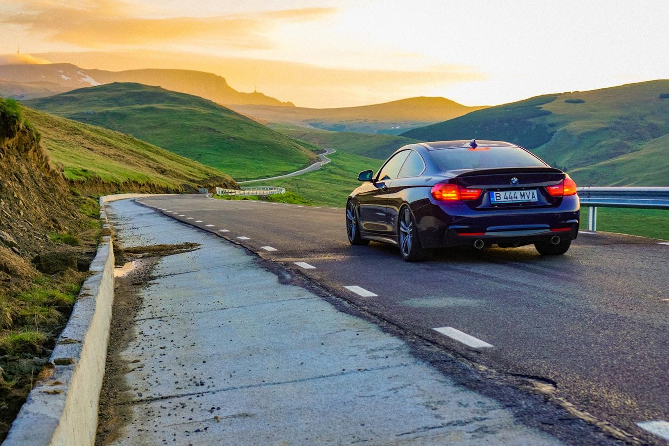 Luxury vehicle on the road.
