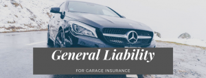 Car with sign that reads: General Liability Insurance