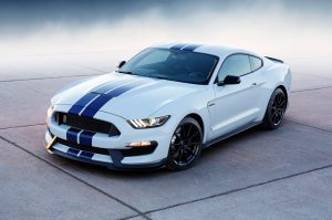 Ford Mustang with racing stripe.