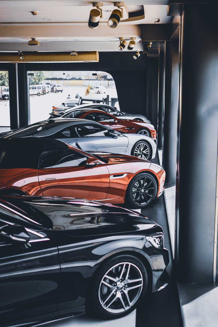 Cars at an auto dealership.