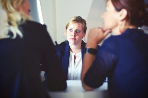 Woman in a business meeting.
