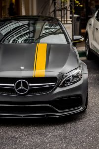 Mercedes with racing stripe.