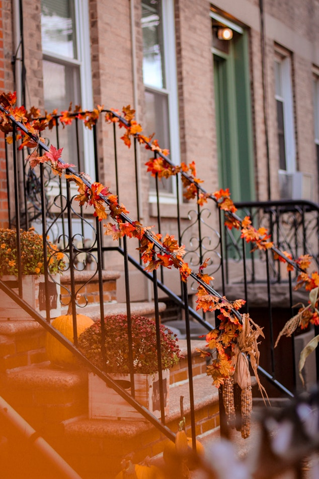 Rowhouse decorated for fall.