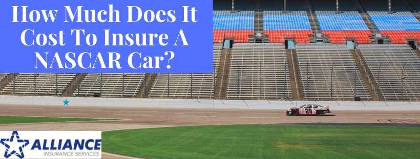 Car on race track with sign: How Much Does It Cost To Insure A NASCAR Car?