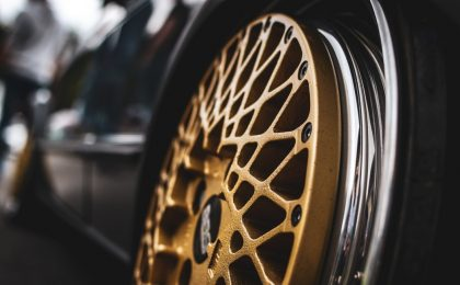 Gold tire rims.