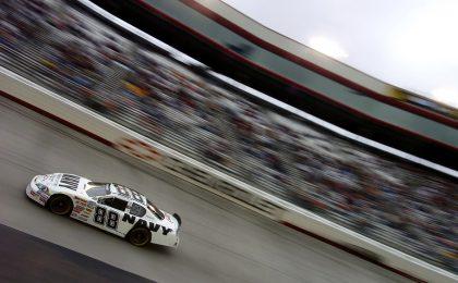 NASCAR car on track.