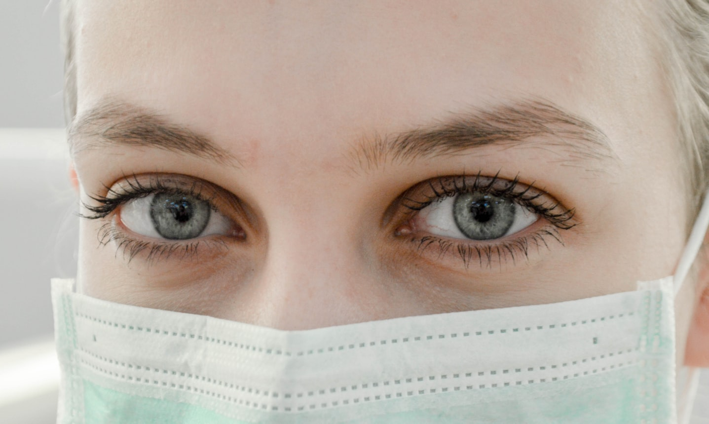 Woman in medical mask.