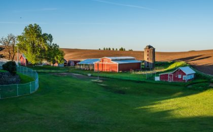 Farm with farm outbuildings that have farm insurance.