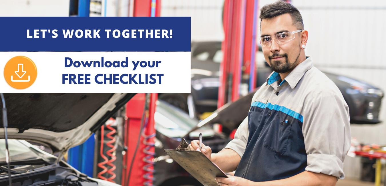 Mechanic using insurance checklist.