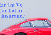 Sign that reads: New Car Lot Vs Used Car Lot in Garage Insurance