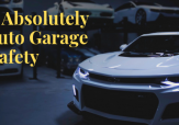 Sports car and a sign that reads: How to Absolutely Rock Auto Garage Safety