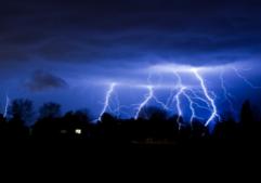 Lightning strike house in neighborhood.